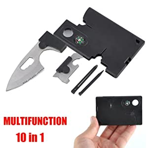 Multitool Survival Kit~Credit Card Size Knife Tool~Survival Pocket Knife~10 in 1 Multitool Emergency Kit~Brand New