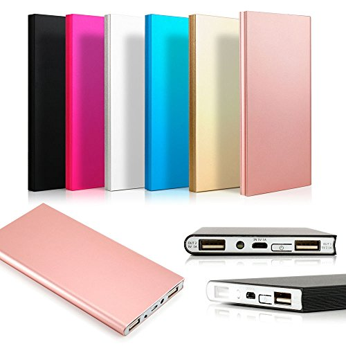 Ocamo Portable Power Bank 20,000mAh External Battery Charger, Ultra Slim Design with 2 USB Ports for iPhone7 Plus 6s 6 Plus, iPad, Galaxy and More
