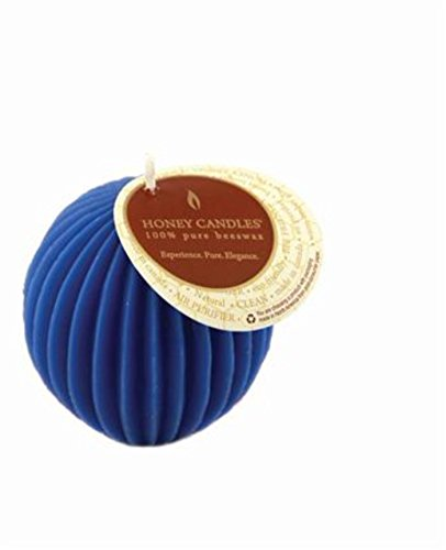 Fluted Pillar Candle - Honey Candles Ornamentals - Fluted Sphere - Blue