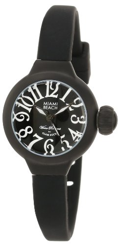 Glam Rock Women's MBD27025 Miami Beach Art Deco Black Dial Black Silicone Watch