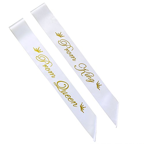 Paiji Prom King and Prom Queen Satin Sash,School party(King and Queen)