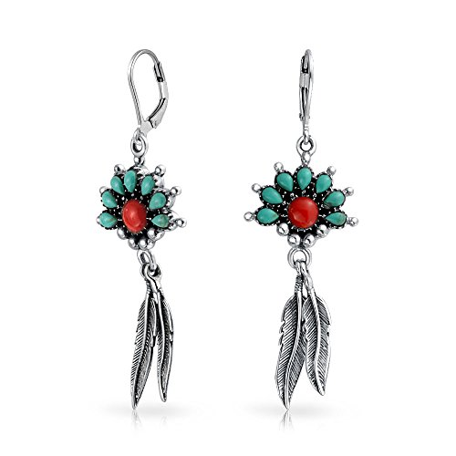 (Southwestern Style Stabilized Turquoise Coral Feather Lever Back Dangle Earrings 925 Sterling Silver)