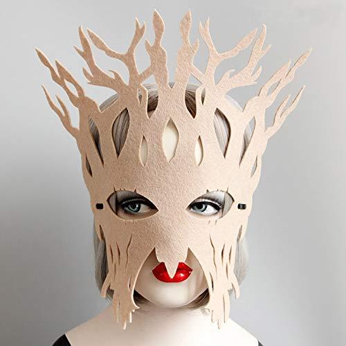 Party Masks - Full Face Party Masks Big Tree Felt Mask Vintage Beige Halloween Cosplay Custome Christmas Gifts - Vintage Mask Toys Felt Party Party Masks Mask Halloween Wooden Christmas Jewelr -