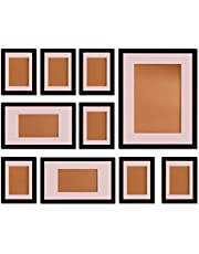 """FUNTRESS 10 Pieces Gallery Wall Photo Frames Set For Wall 16'' 12"""" 7"""" Size Wooden Combination Pictures Frames Baby Room Living Room with Mats(Black)"""