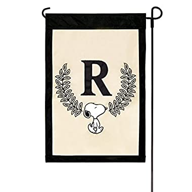 Peanuts Monogram  R  Applique Garden Flag