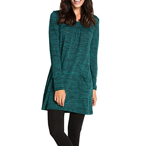 Women's Barrel Skirt,O Neck Casual Solid Long Sleeve Above Knee Dress Loose Dress ANJUNIE(Green,2XL)