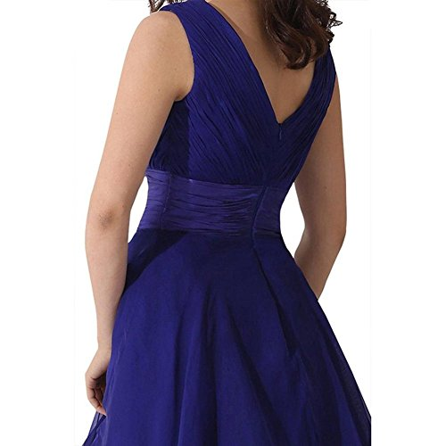 Gowns Purple Light Bridesmaid Evening Prom Short V Women's Drasawee Neck Dress Chiffon vwqAzcPZ