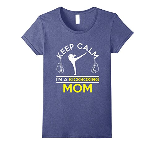 Womens Funny Keep Calm Im A Kickboxing Mom T-shirt Mothers Day Large Heather Blue