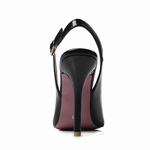 Carolbar Womens Spike Teen Sexy Gesp Slingback Hoge Hakken Jurk Schoenen Sandalen Zwart