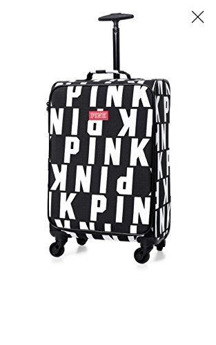 (Victoria's Secret Pink Logo Black & White Wheelie Luggage Carry On Suitcase)