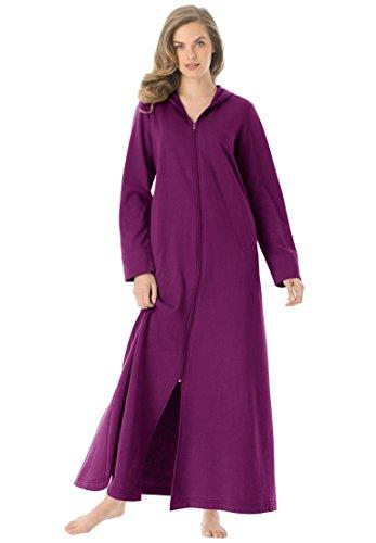 Dreams & Co. Women's Plus Size Long Ultra-Soft Fleece Hoodie Robe Boysenberry 3X (Womens Plus Size Robes)