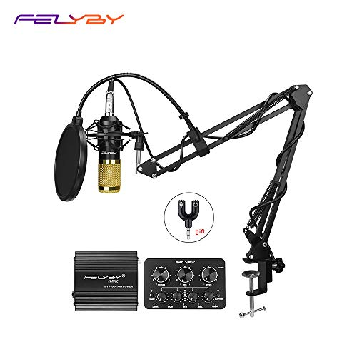 Pro Condenser Microphone XLR to 3.5mm Podcasting Studio Recording Condenser Microphone Kit Computer Mics with 48V Phantom Power Supply (Black) (Phantom Computer)