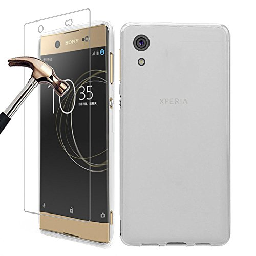 Gzerma for Sony Xperia XA1 Ultra Case with Screen Protector 6 Inch, Slim Soft TPU Silicone Full Body Back Cover, HD Clear Matte Shockproof Protective Film for Sony Xperia XA1 Ultra G3223 Phone (White)