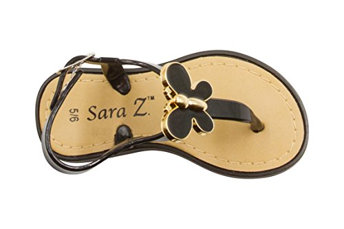 Sara Z Toddler Girls Jelly Thong Sandals with Gold and Enamel Butterfly 11/12 (Guy Outfit Ideas)