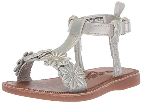 OshKosh B'Gosh Marian Girl's Flower T-Strap Sandal, Silver, 11 M US Little Kid ()