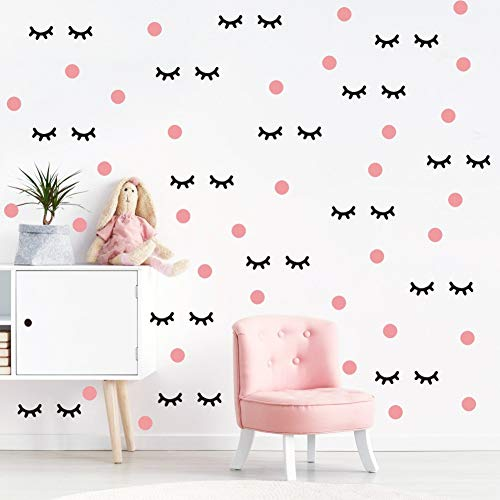 - IARTTOP Lovely Eyelash Wall Decal with Pink Dots Wall Sticker (98Pcs), Sleepy Eye Eyelash Vinyl Decal for Kids Bedroom Decor, Makeup Sticker for Girls Wall Art
