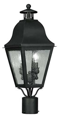 Black Amwell Post Light with 2 Lights