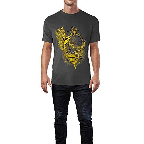 SINUS ART® Tattoo Art mit Vogel und Herz Herren T-Shirts in Smoke Fun Shirt mit tollen Aufdruck