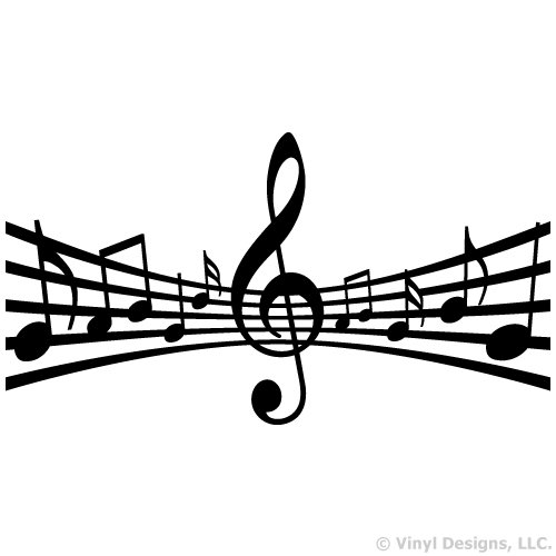 Staff with Clef and Music Notes Vinyl Wall Decal Sticker Art, Studio, Home Decor, Mural (Music Staff Notes)