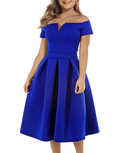 LALAGEN Women's Vintage 1950s Party Cocktail Wedding Swing Midi Dress Blue XL