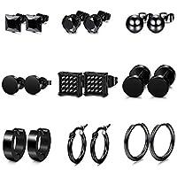 Jstyle 4-9 Pairs Stainless Steel CZ Stud Earrings for Women Mens Hoop Huggie Earrings Ear Piercing Earrings Set