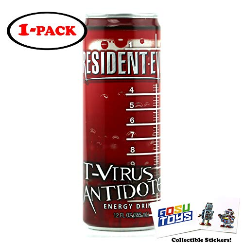 Resident Evil T Virus Antidote Energy Drink 12 FL OZ (355mL) Can With 2 GosuToys Stickers