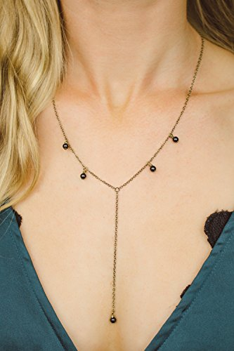Boho black onyx lariat y necklace in bronze - 18