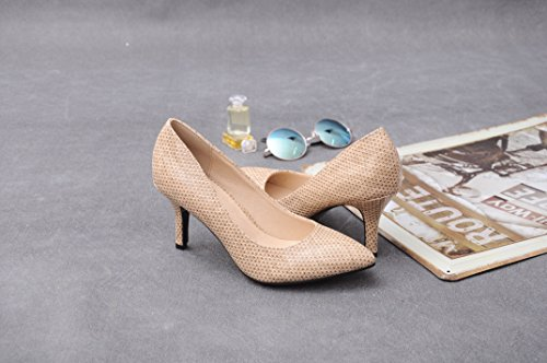 Abby YWE-CN1023 Womens Bussiness Chic Classic Closed Pointed Toe New Court Pumps Fish Scale Customize Heel Slip-on Beige E59DyRAy71