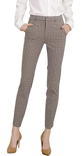 Marycrafts Women's Work Ankle Dress Pants Trousers Slacks Plaid 1 S New