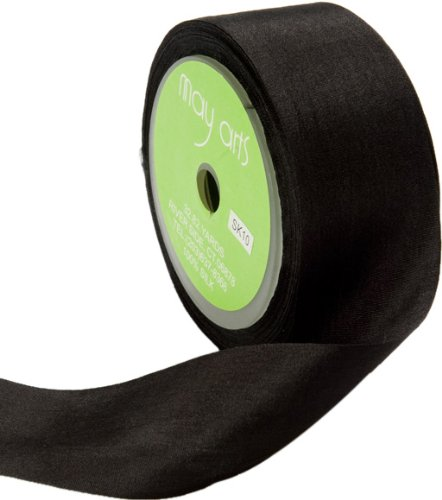 May Arts 1.25 Inch Wide Ribbon, Black Silk (Black Silk Ribbon)