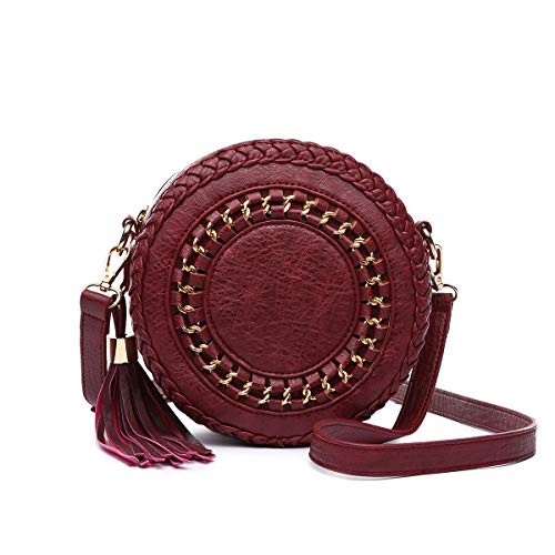 BLUE H. Circle Chained Crossbody - Tassel and Round Whipstitched Detail ()