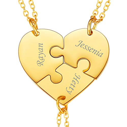 U7 BFF Necklace for 2/3/4 Stainless Steel Chain Personalized Family Love/Friendship Jewelry Set Free Engraving Heart Pendants (Set of 3 Gold Customized)
