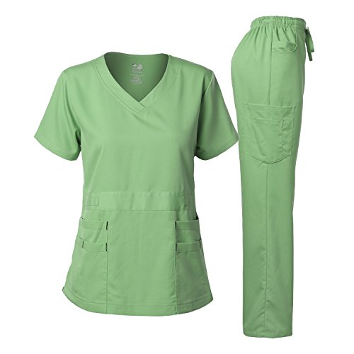 Dagacci Medical Uniform Women's Scrubs Set Stretch Ultra Soft Top and Pants (L, (Green Elastic Waist Uniform Scrub)