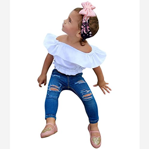 PHOTNO 1 Set Outfits Toddler Kids Baby Girl Fashion Off Shoulder T Shirt Tops Sleeveless+ Jeans Rip Pants Outfit Clothes (2-7T) (5T, White) (Two Tops Sleeveless)