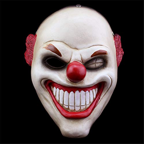 TTXST Halloween Mask Resin Mask Payday2 Collector's Edition Game Red Nose Clown Horror Resin Mask]()