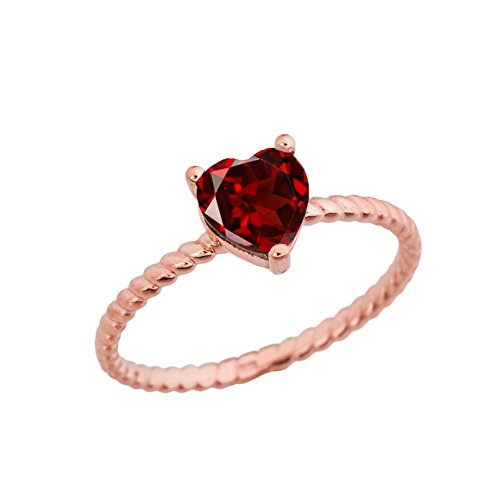 Dainty 14k Rose Gold Heart-Shaped Garnet Solitaire Rope Engagement/Promise Ring (Size 10)
