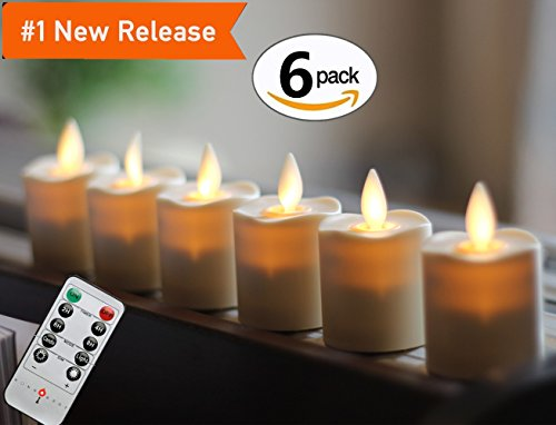 Set of 6 Battery Operated Flameless Votive Candles with Remote and Timer , 1.5 X 2.4in, 6- CR2450 batteries (Free) Last 120 hours