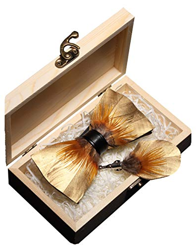 JEMYGINS Handmade Gold Feather and Leather Pre-tied Bow tie and Brooch Sets for Men (16)