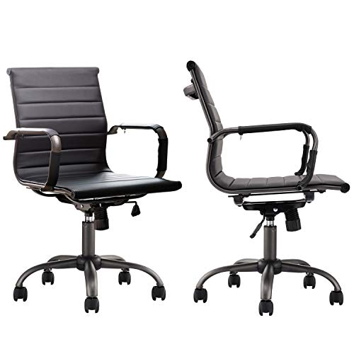 OVIOS Ergonomic Office Chair,Leather Computer Chair Set of 2 for Home Office or Conference.Mid Back Swivel Desk Chair with Arms (2, Black)