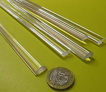 """Acrylic Round Rod 3 Pack of 24/"""" x 1/"""" Diameter Nominal - Clear Extruded"""