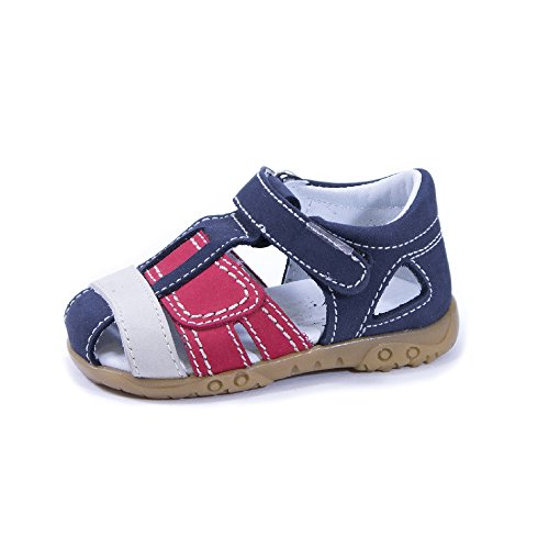 QKIS , Sandales pour garçon multicolore Nubuck bleu marine, rouge et blanc