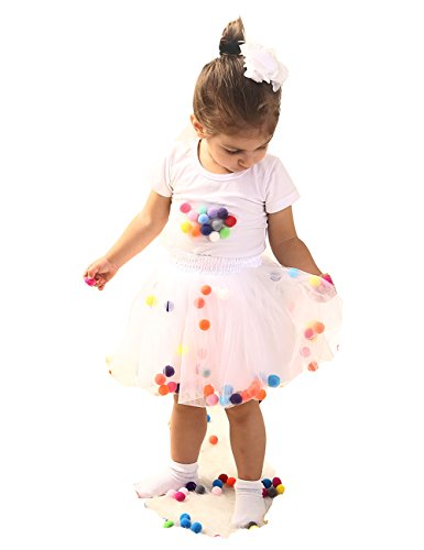 DOMIRY Tulle Tutu Skirts for Girls Layered Fluffy Ballet Skirt with Pom Pom Puff Balls Princess Dress-up Clothes (White, XXL -