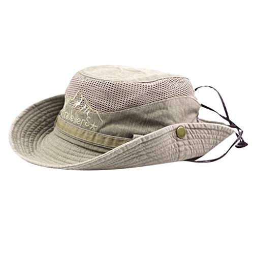 Sanyyanlsy Men Fisherman Hat Outdoor Visor Net Cap Hiking Hat Mesh Breathable Rivet Foldable Adjustable Wind Lanyard Hat - Pinwheel Fitted Cap