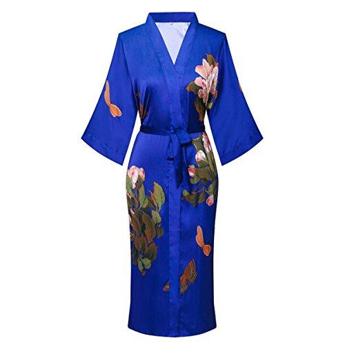 (Old-to-new Women's Long Silk Kimono Robe 3/4 Sleeve Soft Bathrobe Sleepwear With Flower Print)
