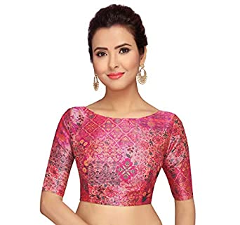 STUDIO Shringaar Pink Abstract Print Readymade Saree Blouse With Elbow Length Sleeves