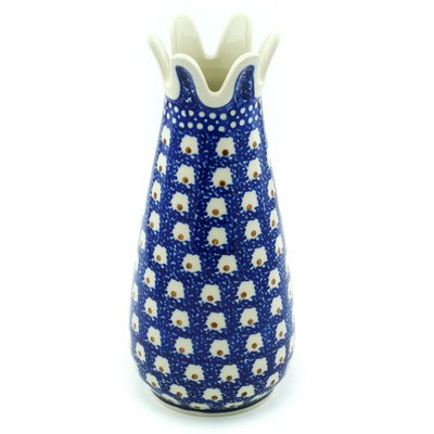 Polish Pottery Vase 9-inch Brown Eyed Peacock