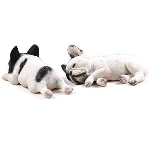 Bulldog Sandicast Dog Sculpture - French Bulldog Frenchie Realistic Collectible Miniature Decorative Figurines Sculpture-Set of 2 (White/Black)