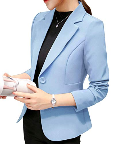 Donna Giacca Tailleur Formale Outwear Leisure Bavero Giubotto Suit Button Hellblau Fit Business Da Slim Confortevole Manica Puro Colore Autunno Lunga wIRq455xgW