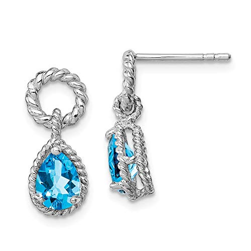 - Mia Diamonds 925 Sterling Silver Blue Simulated Topaz Pear Twisted Post Earrings (16mm x 7mm)
