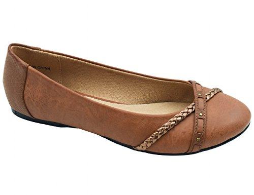 Greatonu Camel Casual Studded Soft Insole Ballerina Flat Shoe Size (Summer Ballerina)